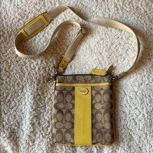 Yellow Coach crossbody/satchel/messenger purse